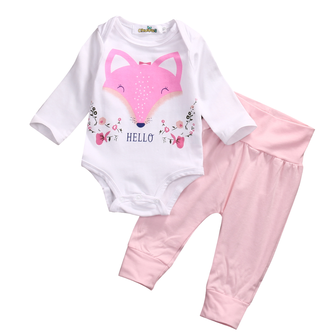 2017 Newborn Baby Girl Clothes Pink Fox Long Sleeve Cotton Romper Bodysuit + Pant Trouser 2PCS Outfit Bebek Giyim Clothing Set 2pcs children outfit clothes kids baby girl off shoulder cotton ruffled sleeve tops striped t shirt blue denim jeans sunsuit set