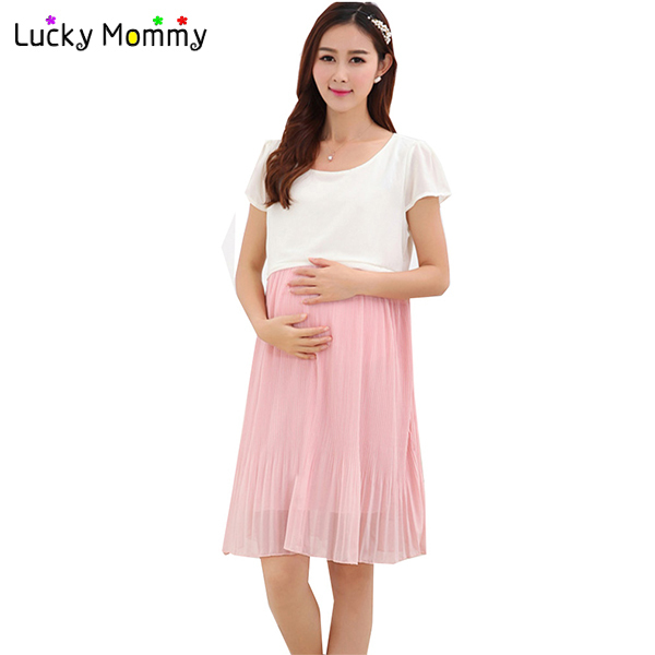 Summer Nursing Dress Maternity Dresses for Pregnant Women Elegant Breastfeeding Clothing for Feeding Chiffon Nursing Clothes