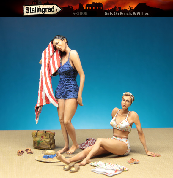 Scale Models 1/35 Girls On Beach  Include 2 Girls  Figure  Uncolor  Resin Model