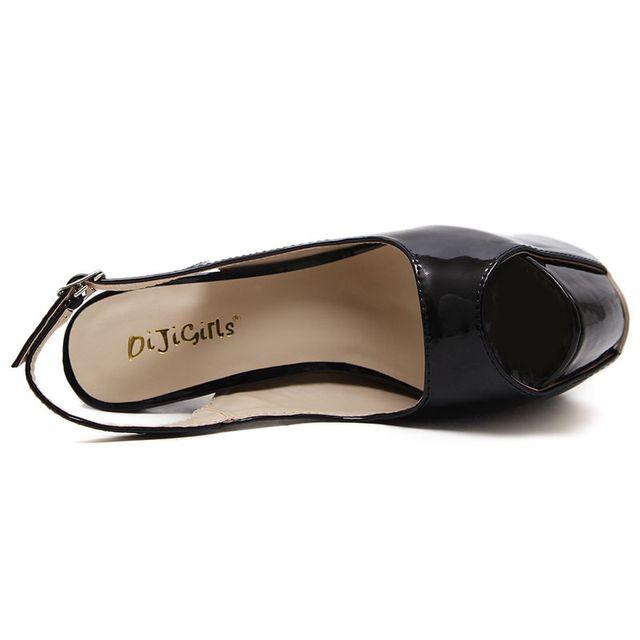 DiJiGirls Sexy Pumps Wedding Women Fetish Shoe 16 CM High Heels Peep toe Platform Patent Leather Nighclub Shoes Women Pumps 2020
