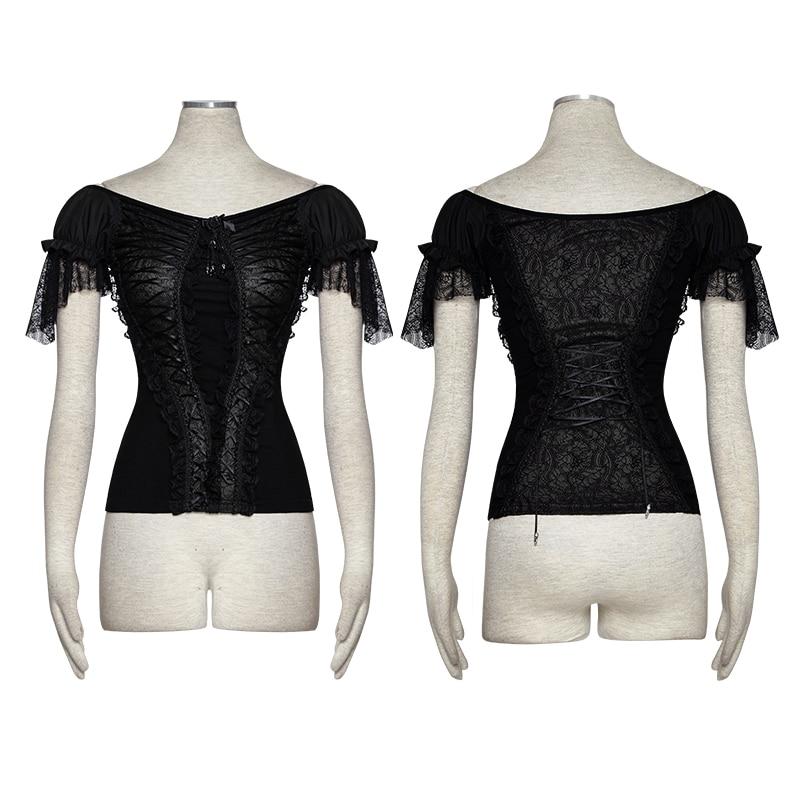 Volants shirt En Chemises Latine Bateau Manches Tops Femmes Large Serré T Col Nouveau Transparent Bouffantes Dentelle Gothique Mode wqxS44Z8