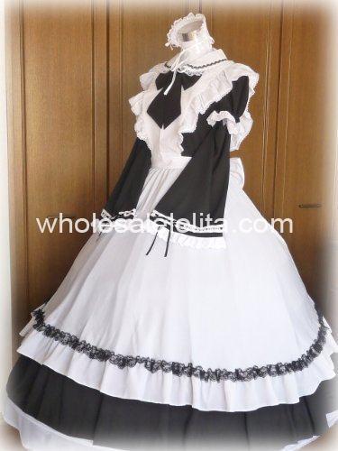 Длинное черно-белое готическое викторианское платье горничной