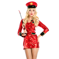 Sexy Halloween Police Mini Dress Red Front Buckle Beautiful Police Cop Costume Cosplay Imitation Leather For