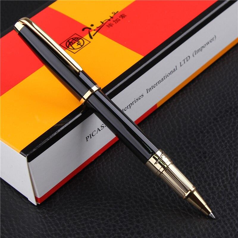 عالية الجودة بيكاسو Pimio 918 الأسود و الذهب كليب الأسطوانة الكرة القلم مع الأصلي بو هدية مربع مكتب القرطاسية الحبر أقلام-في أقلام حبر جاف من لوازم المكتب واللوازم المدرسية على  مجموعة 1