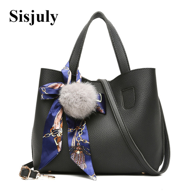 d5f3635fcf Sisjuly Scarves Fur Ball Leather Bag Women Handbag Ladies Small Crossbody  Bags for Women Shoulder Messenger