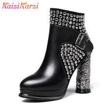 3dc6bb504 KaiziKarzi Botas Tornozelo Mulheres Genuína Mulher Sapatos de Couro de Pele Quente  Sapatos de Plataforma De Salto Alto Botas Reb.