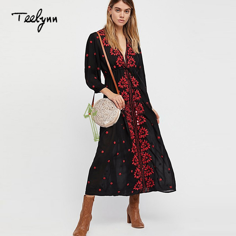 4bcaed3110 Detail Feedback Questions about TEELYNN Boho dress 2018 spring Vintage  rayon floral Embroidery dress v neck Casual long dresses hippie brand women  dress ...