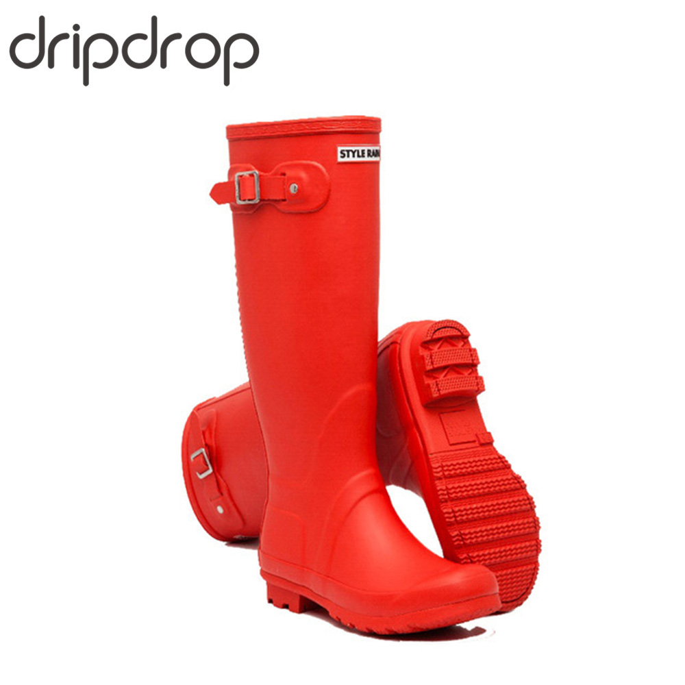 DRIPDROP الطبيعي المطاط الأصلي طويل القامة احذية المطر للنساء عالية الركبة الأحذية أزياء قابل للتعديل مشبك 4 مواسم-في بوت للركبة من أحذية على  مجموعة 1