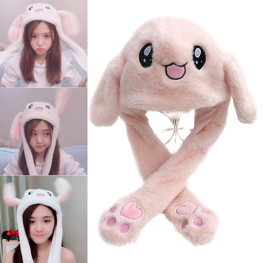 Cute Animal Plush Bunny Hat Interesting Moving Up Down Ears Kids Girls Toys Gift IK88