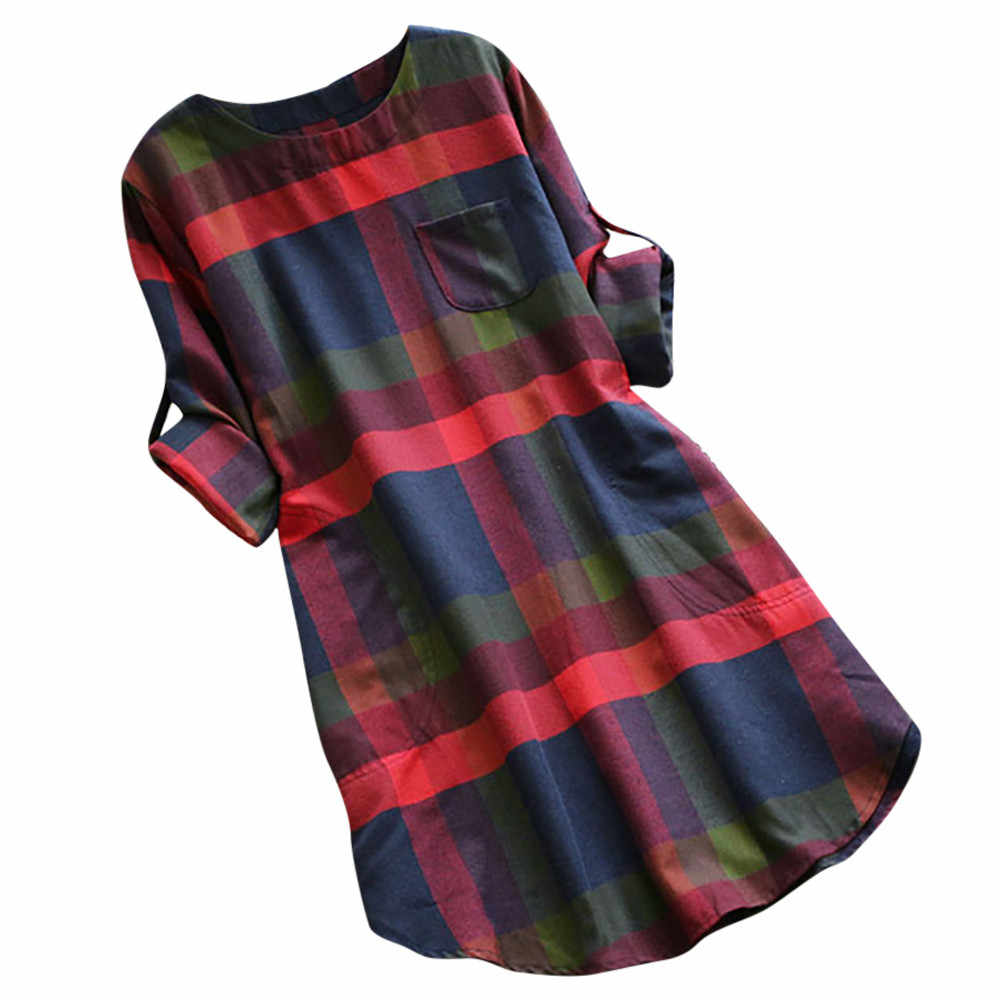 Casual Summer Dress Women Ladies Plaid Sexy Dress Long Sleeve Loose Pocket Swing Vintage Mini Dress Girl 2019