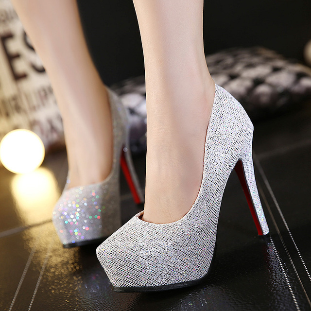 2015 autumn new fashion sequins sets foot round waterproof super sexy high- heeled shoes heel 90608e924130