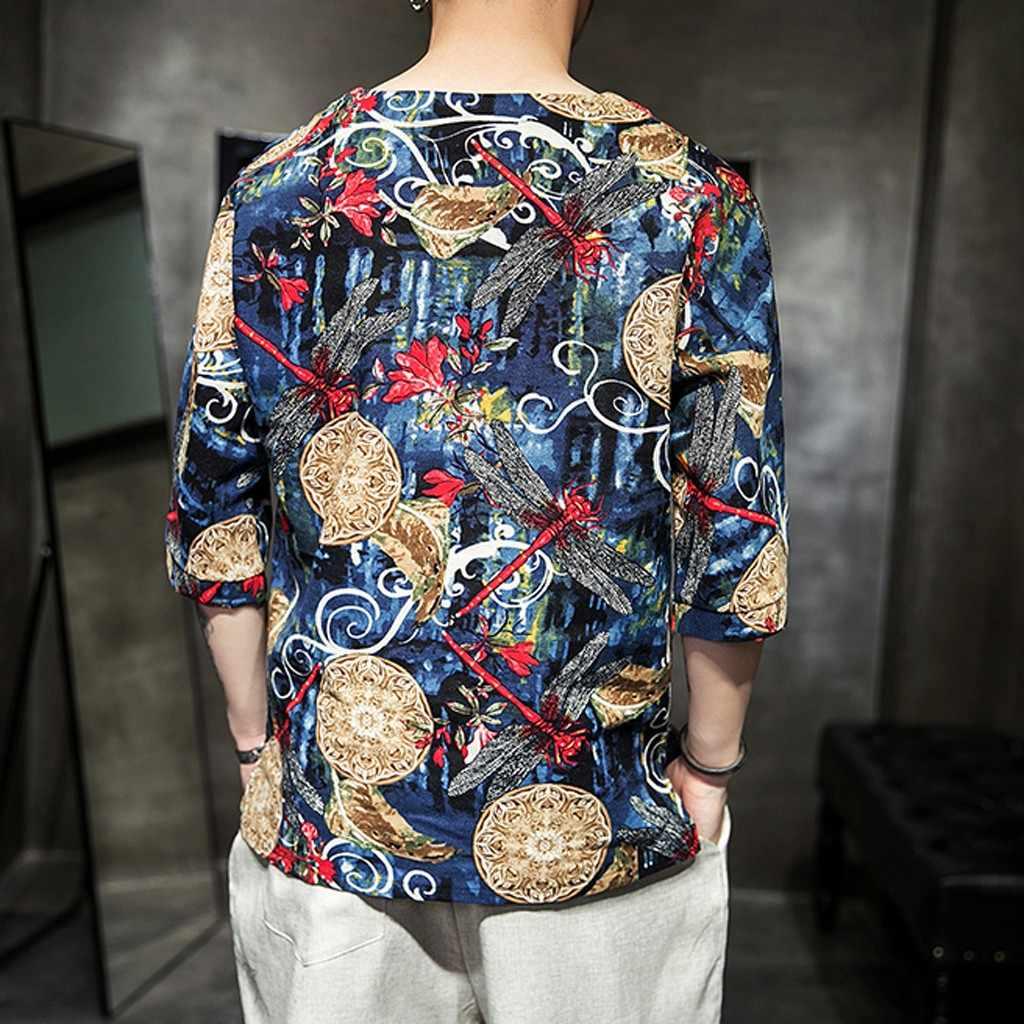 Camisa de lino para hombre, nueva camisa de lino de verano para hombre, camisa de marca para hombre, camisas rojas degradadas, blusa casual para hombre