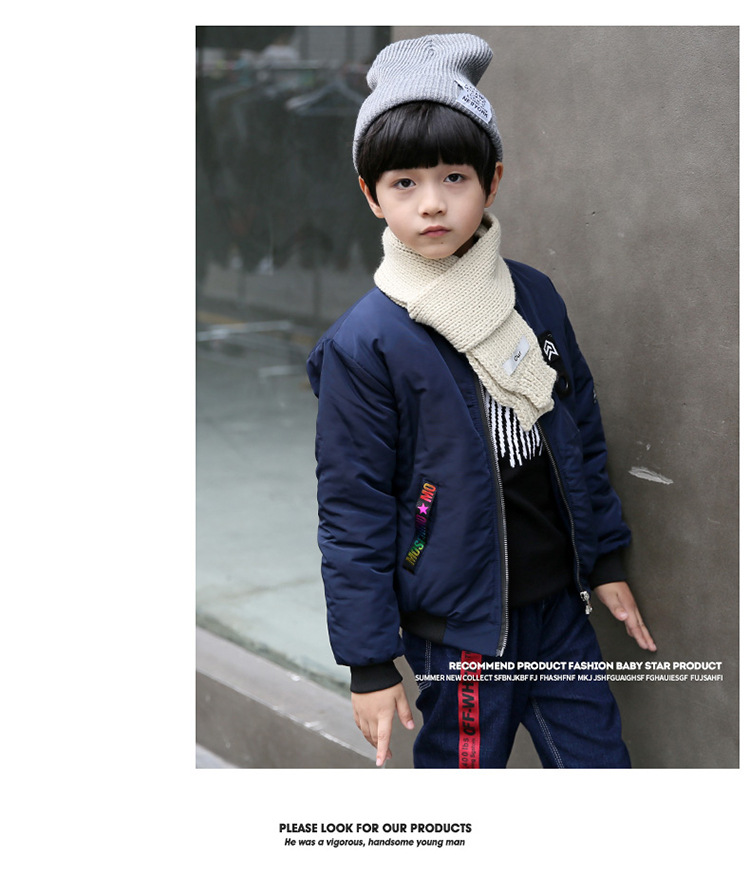 Fashion Star Kids Boys Girls Pockets Winter Bomber Jacket