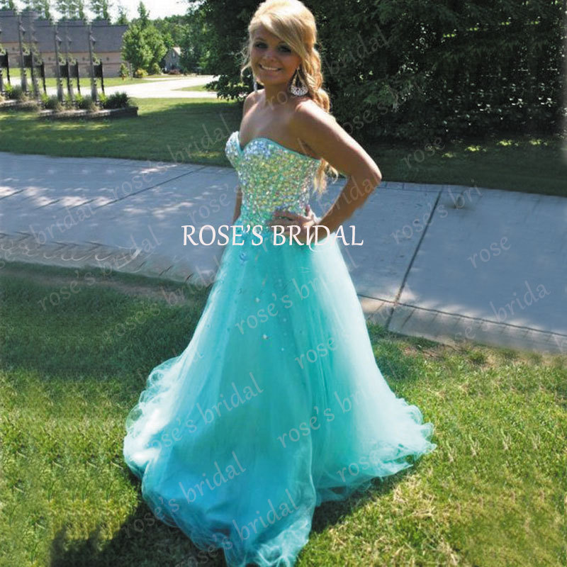 1f8f6cd9872 2016 Vestidos Formatura Rhinestone Sparkly Blue Prom Dresses Puffy Tulle  Luxury Cheap Prom Gowns For Women Long Graduation Dress-in Prom Dresses  from ...