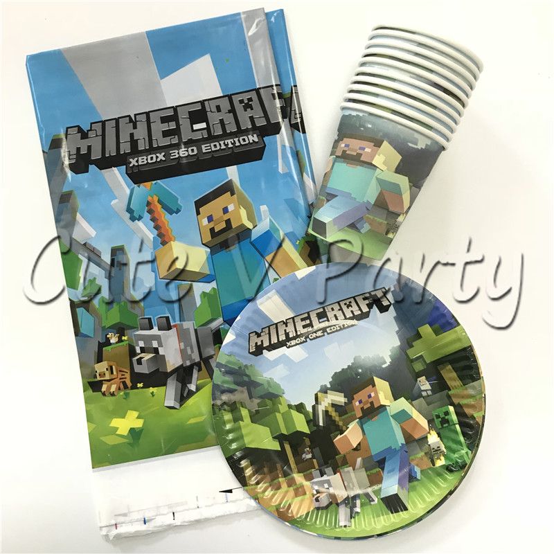 21pcs Lot Minecraft Theme Cartoon Party Tableware Set Disposable Cup Plate Tablecloth Birthday Baby Shower