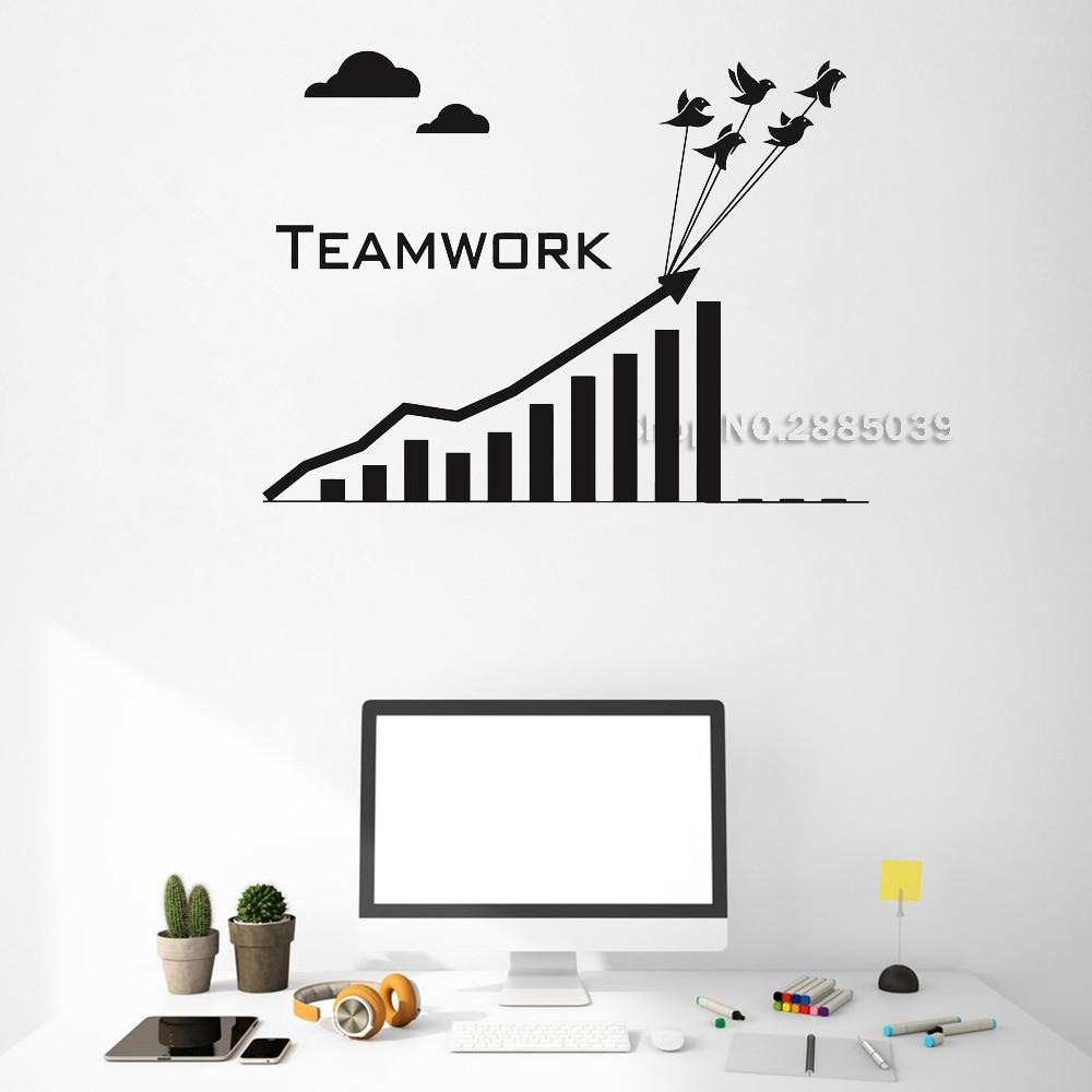Unique Design Vinyl Wall Decals Teamwork Business Graphics Office Inspire Art Stickers Mural Removable Adesivo De Parede LC526