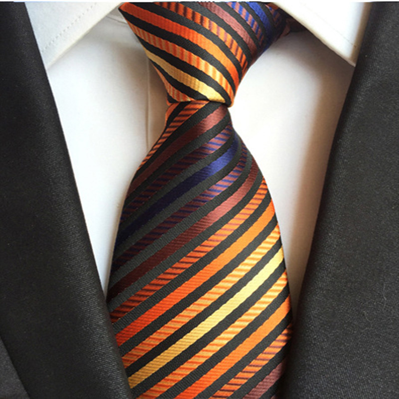 New Arrival 100% Silk Mens Tie 8cm Striped Classic Business Neck Tie For Men Suit  Wedding Party Necktie  Formal Dress Cravat