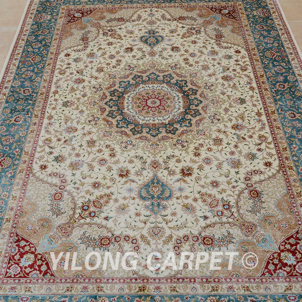 Aliexpress Buy Yilong 4x6 Turkish Silk Carpet Vantage Medallion Beige Persian Rug Shop 0099 From Reliable Rugs Suppliers On