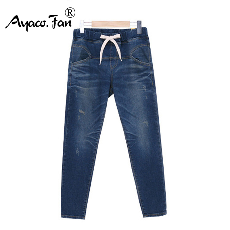 2019 Spring Autumn Women Jeans Harem Pants Plus Size 5XL Blue Mid Waist Full Length Lady Loose Women Pants Lady Long Trousers