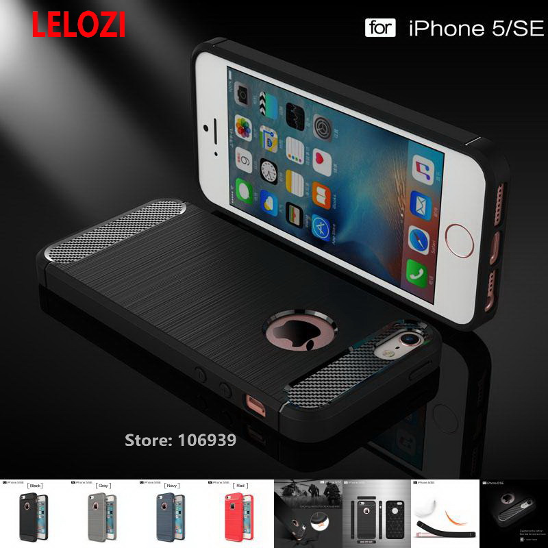 LELOZI Soft TPU Rubber Soft Armor Rugged Carbon Fiber Brushed Men Phone Coque Etui Case Capinha carcasa For iPhone 5 5s SE