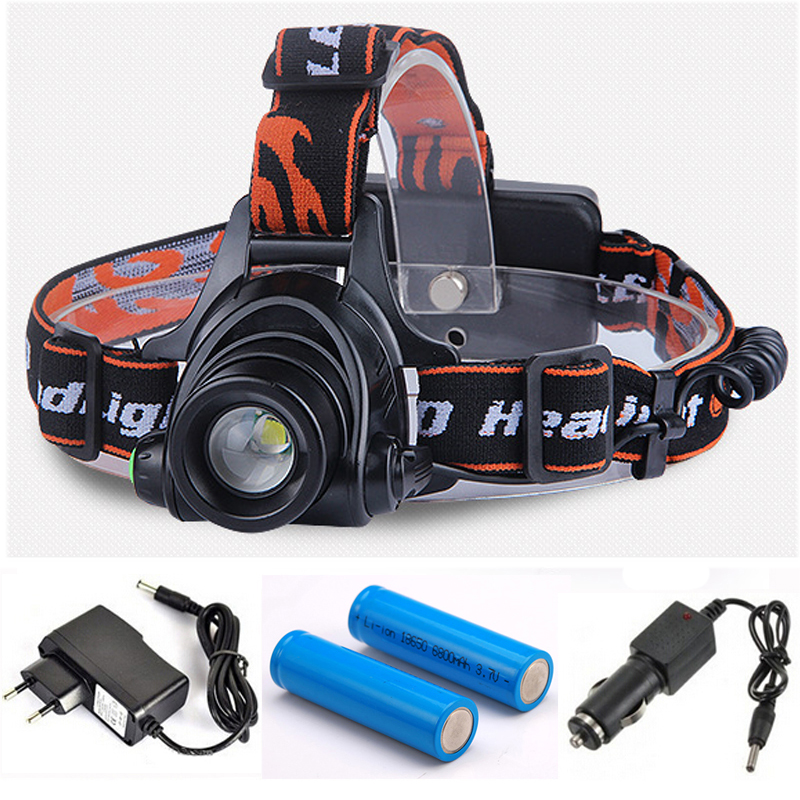 8000Lumens Zoomable Headlight LED T6 Headlamp Waterproof Head Flash Light Lamp Torch+DC/Car Charger+18650 Battery t6 xpe led head lamp 50w zoomable headlamp 5leds headlight tube torch led flashlight car charger 18650 batteries high lights