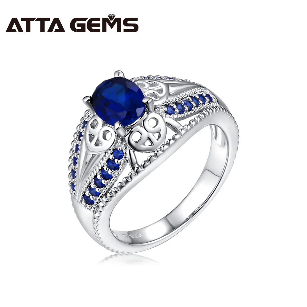 Blue Sapphire Silver Ring For Women And Men Unisex Silver Ring 1.7 Carats Sapphire Wedding Top Popular Style Brilliant Ring