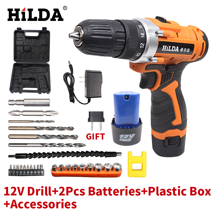 цена на HILDA Multi-function Electric Screwdriver 12V 125W Electric Drill 20-30N/M Cordless Drill DC Power Supply  Lithium Battery*2 PCS