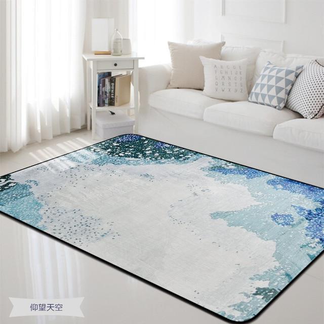 US $31.99 20% OFF|Blau und Teppich für Zuhause Wohnzimmer und Schlafzimmer  Teppich Boden matte Bettvorleger Weichen Teppich für Schlafzimmer Anti ...