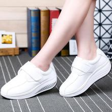{D&H}Women's Vulcanize Shoes Slimming Shoes Women Genuine Leather FashionCasual Shoes Patchwork Fitness Lady Swing Shoes Woman