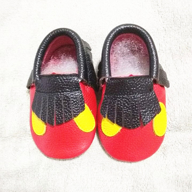 Mickey y Minnie Niño Bebé mocasines de Cuero Genuino Arco Borla zapatos de Bebé Primeros Caminante del oído del punto del Envío libre