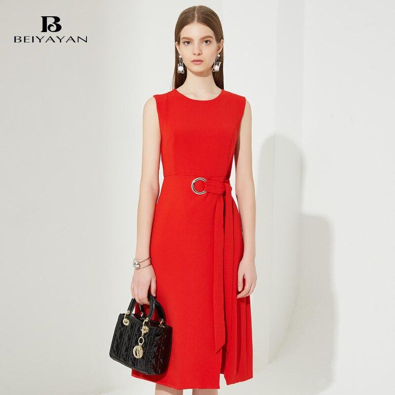 Buy Cheap BEIYAYAN Women Dress Sleeveless Side Split Work Wear Office Dress 2017 New O-Neck Knee-Length Ladies Summer Dresses Red