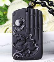 Ücretsiz nakliye 100% Doğal Siyah Obsidian El Oyma Ejderha Güneş Şanslı Muska Kolye Kolye