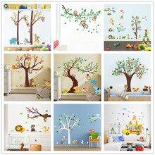 Лес Животные Дерево наклейки на стену для детской комнаты Обезьяна Сова джунгли дикие настенные наклейки детская спальня декор плакат на стену 1 шт