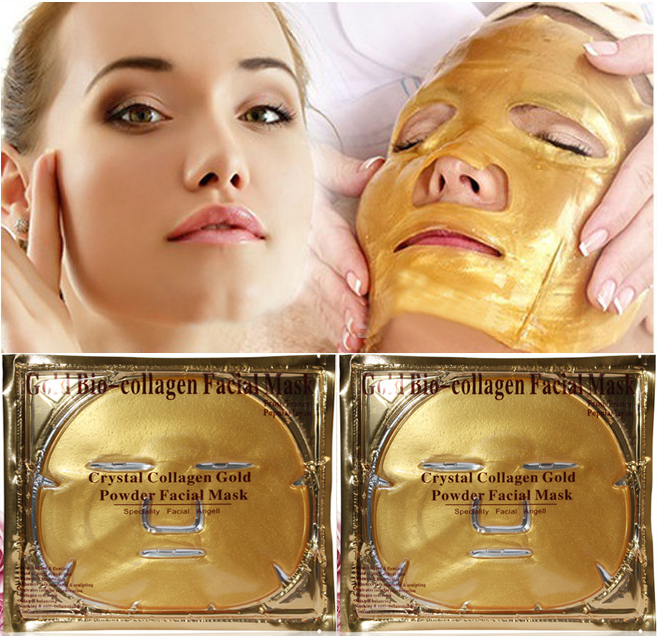 Gold Bio-Collagen Facial Mask Face Mask Crystal Gold Powder Collagen Facial Mask Moisturizing Anti-aging 5PCS 2015 New arrive