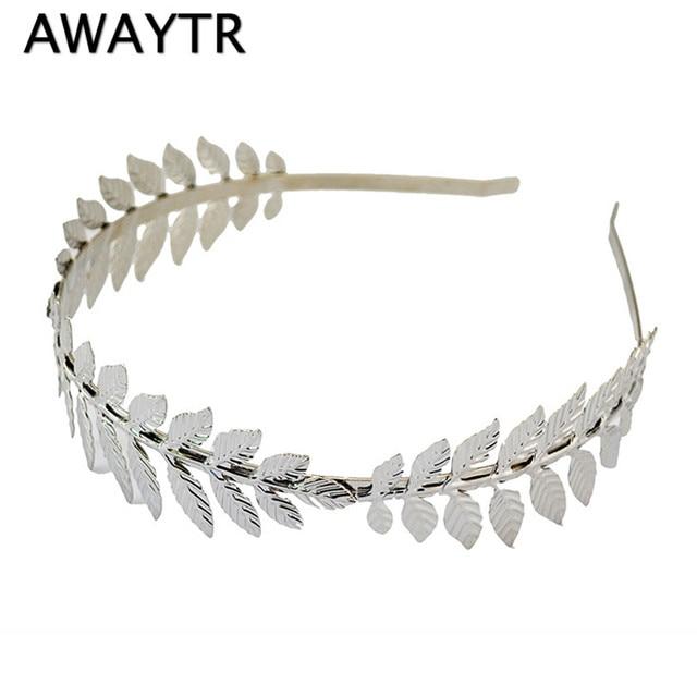 Fashion Gold Plated Metal Leaf Headband Hairband for Women Wedding Hair Accessories Tiara Elegant Silver Leaves Head Piece
