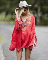 2017 sommer hohe qualität stickerei v-ausschnitt böhmen lose kleid frauen Gypsy stil sexy vintage mimi kleid