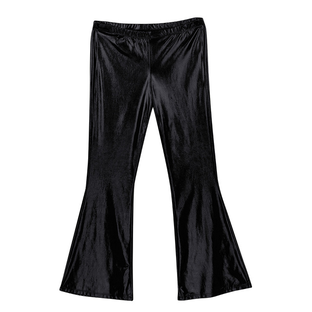 Adult Mens Moto Punk Style Party Pants Shiny Metallic Disco Pants with Bell Bottom Flared Long Pants Dude Costume Trousers 5