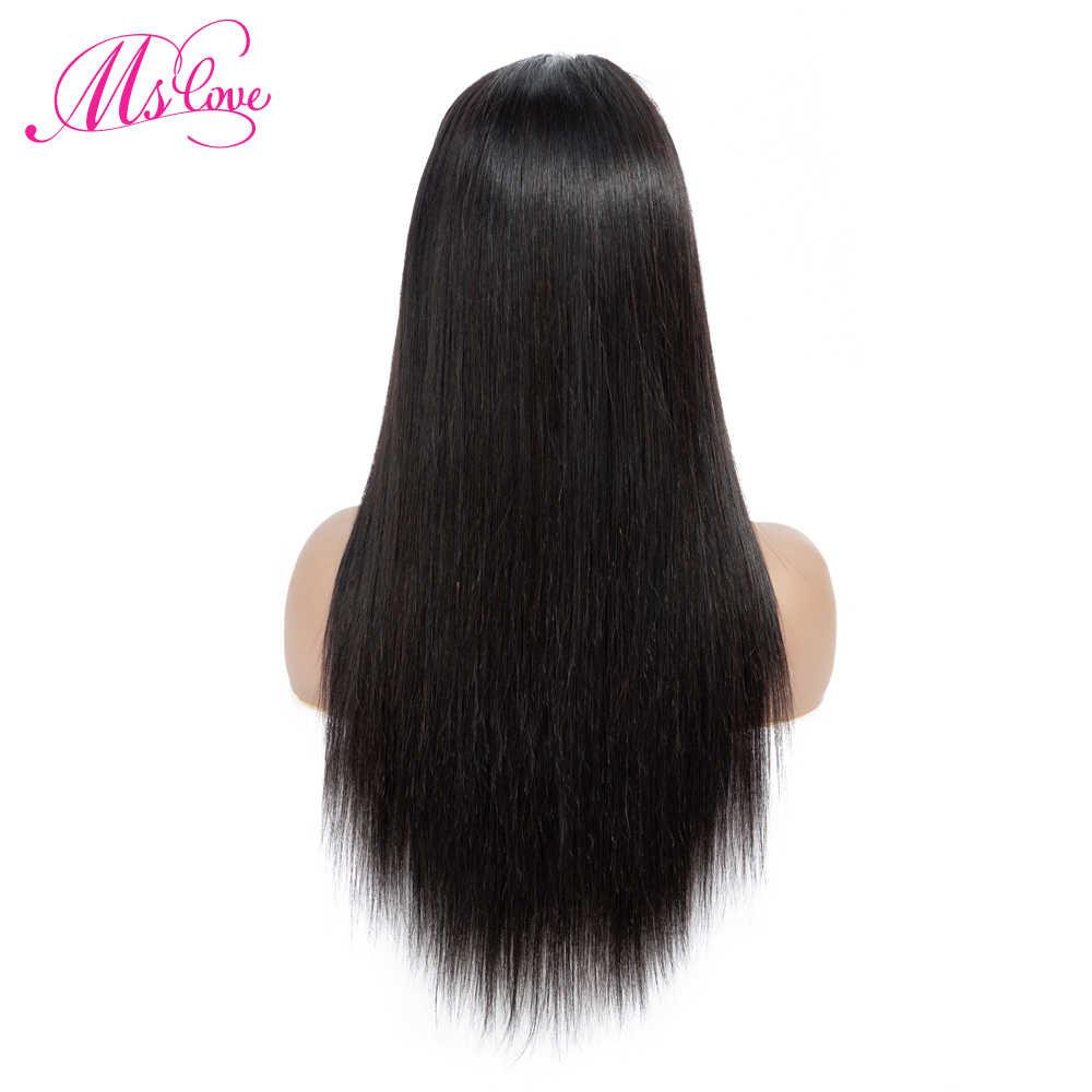 4x4 парики из натуральных волос на кружеве 130% плотность прямые бразильские человеческие волосы парики для черных женщин натуральный цвет не Реми MS Love