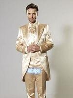2018 Satin Gold Suits Borduren Bruidegom Tuxedos Formele Prom Beste Mannen pak Tailcoats jacket pant 2 stuk plus size