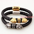 "8.66""*8mm 27g Top Design 316L Stainless Steel Silver/Gold Lion Head Biker Jewelry Black Genuine Leather Wristband Men's Bracelet"