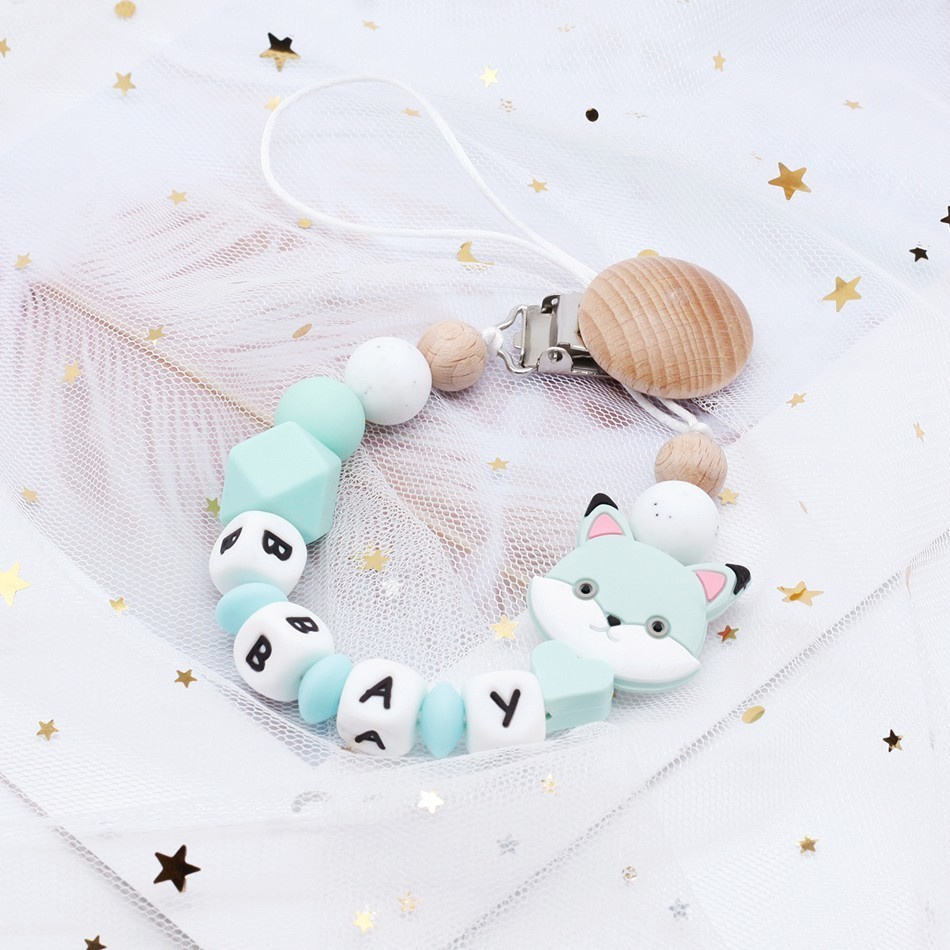 Custom Baby Name Pacifier Personalize Silicone Beads Binky Clip Pacifier Chain Chew Baby Teether Toys Dummy Clip Nipple Holder