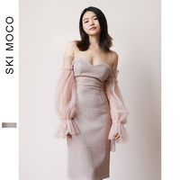 Women Vintage Princess Puff Sleeve Party Dress Sexy Wrap off the shoulder Shiny Casual Cocktail Party Dress 2019 Spring