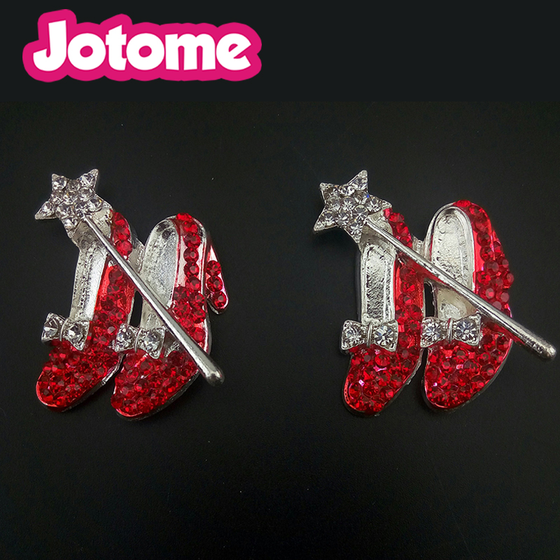 50/100pcs gold/silver tone Women's Red High-heeled shoe Brooch Pin Crystals Rhinestone pin