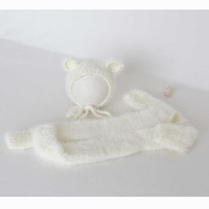 ivory Newborn cream Knitted Teddy bear bonnet Ready to send Fuzzy footed romper and matching hats set