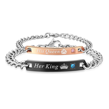 Couple Bracelet Hands His Queen Black Chain Jewelry Her-King Male Women's for Femmo on