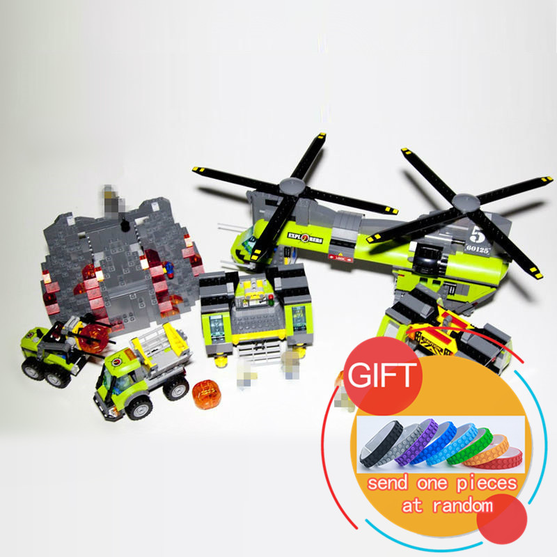 02087 1430Pcs City Series The Volcano Heavy-Lift Helicopter Set Compatible with 60125 Building Blocks children toys Gifts lepin new lepin 16009 1151pcs queen anne s revenge pirates of the caribbean building blocks set compatible legoed with 4195 children