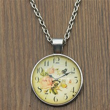 2019 Fashion 25mm Round Vintage Clock Picture Glass Cabochon Pendant Necklace 2 Colors Dropshipping