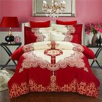 Svetanya Casamento Vermelho Roupa de Cama Cama de Impressão Define Rainha King Size 100% Algodão Lixado