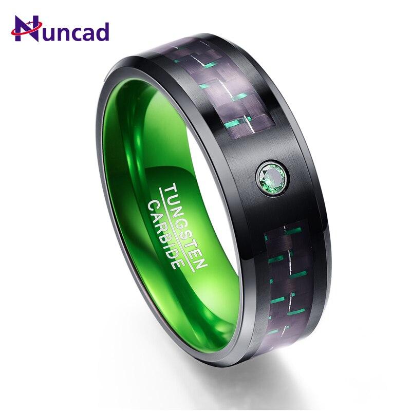 цена на New Arrival Carbon Fiber Green Zircon Men Rings 100% Tungsten Carbide Wedding Bands Anillos para hombres Ring