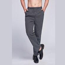 Chef Uniform Cotton Blend Elastic Waist Kitchen Pants Comfort Mens Fast Food Restaurant Chef Clothes Pro Work Hotel Trousers
